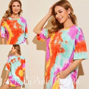 Oversized Sunkist Tie Dye Drop Shoulder T-Shirt